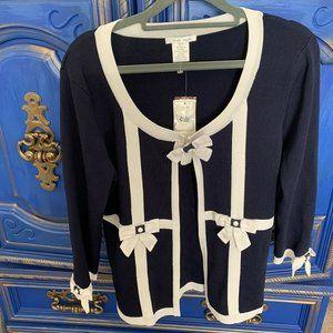 New! Alison Sheri Navy & White Stripe Cardigan Med